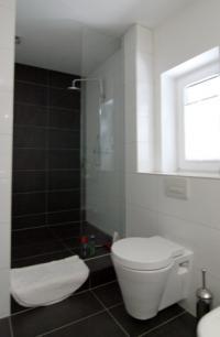 Detailansicht des Bades mit Dusche - Bild 11: Außergewöhnliches Landhaus, F*****, privater Steg am See, bei Berlin